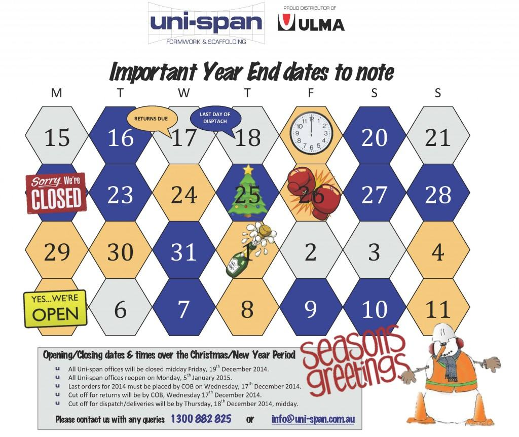 Uni-span Year End Calendar
