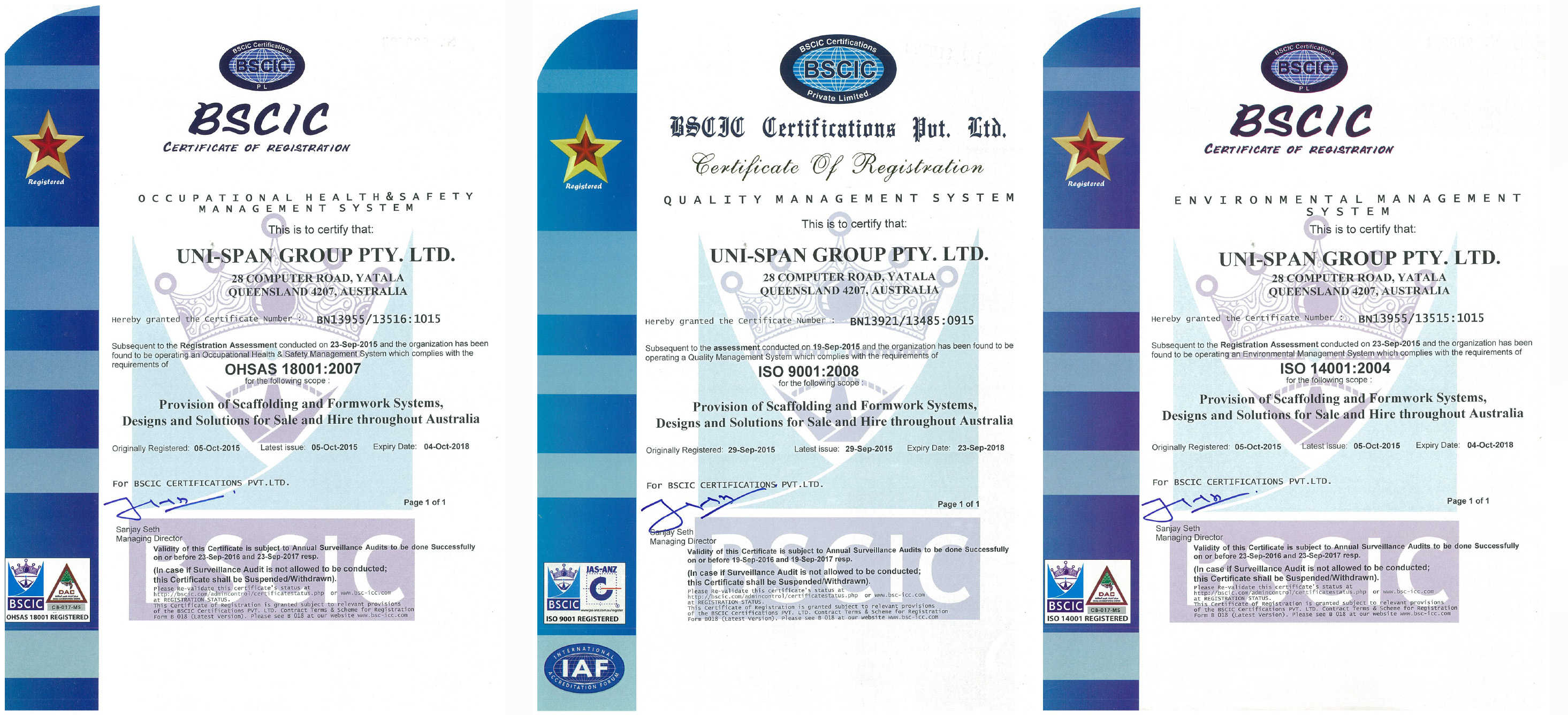 Iso Certifications For Uni Span